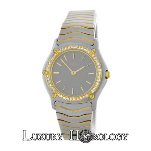 Ebel Mint Ladies Ebel 181930 Wave Diamond Bezel Stainless Steel 18K Gold
