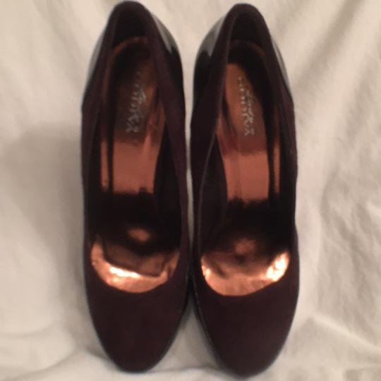 Bally Evening Suede Patent Leather Platform Hidden Platform Brown Pumps