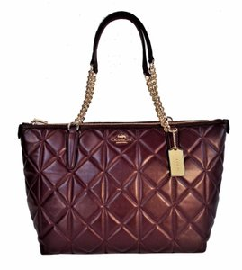 Coach Quilted Leather Ava Tote in Oxblood