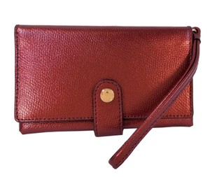 Coach Leather Wallet Brown Wristlet in Metallic Cherry