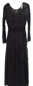 Marchesa Voyage Embroidered Studded Maxi Evening Sheer Dress