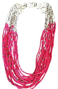 Stella & Dot Red and Gold Beaded Campari Bib Necklace