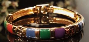 Joan Rivers Vintage Joan Rivers Gold Plated Magnetic Bracelet Multi Color