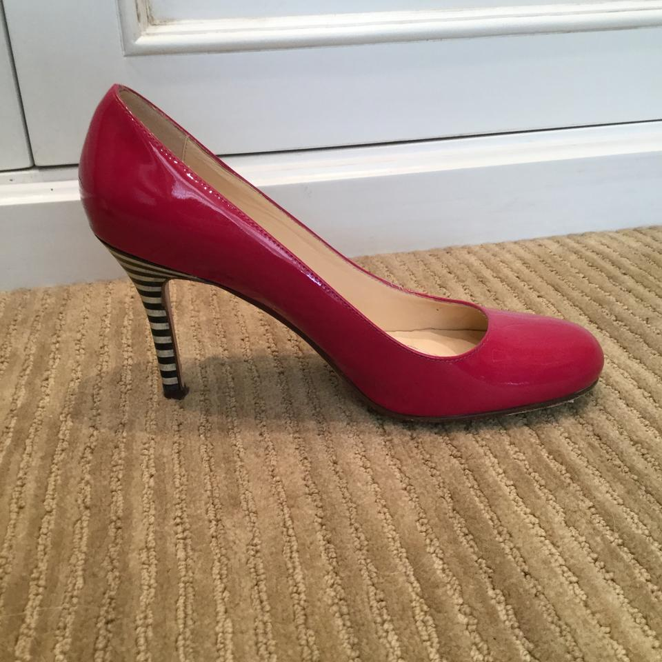 19f1af38b07b Kate Spade Patent Leather Pink Striped Heel Karolina Fuschia Pumps Image 4.  12345