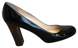 Kate Spade Patent Leather Chunky Heel Round Toe Black Pumps