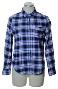 Ambiance Apparel Button Down Shirt Blue Multi