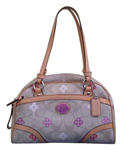 Coach Leather Silver Hardware Hangtag Satchel in Khaki and Multicolor