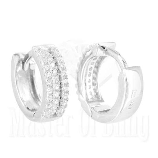 Other Real 925 Silver Hoops Earrings Mens Ladies White Finish