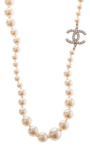 Chanel Chanel Faux Pearl and CC Logo Necklace