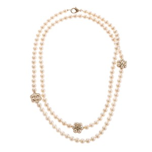 Chanel Chanel Faux Pearl And Camellia Matte Gold Tone Long Necklace