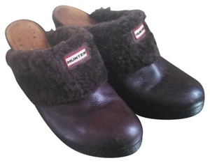 Hunter Shearling Buffed Leather brown Mules