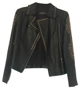 Zara Women Premium Collection Black with gold details Leather Jacket