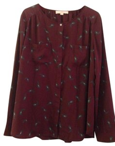 Ann Taylor LOFT Top Burgundy with peacock feather pattern