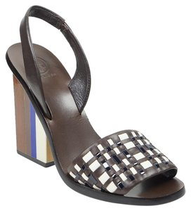 Tory Burch Emori Wedge 7 Leather Brown Sandals