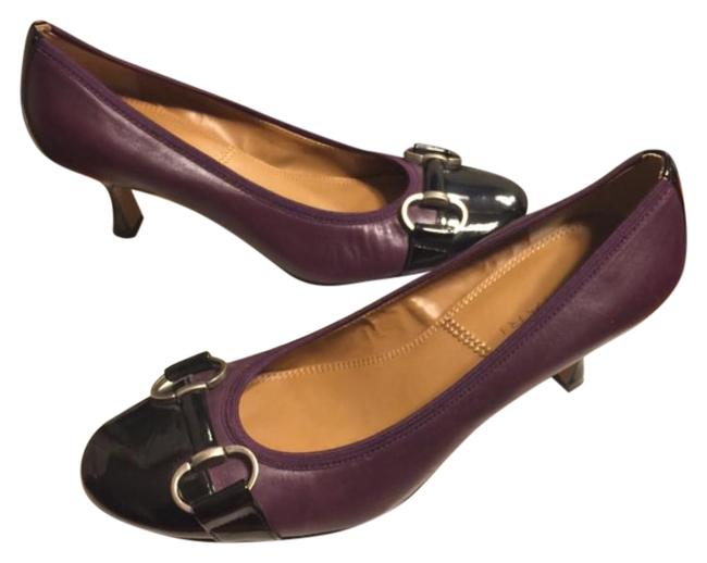 "Item - Eggplant Purple/Black/Silver Leather/Black Patent Leather 2.5"" Pumps Size US 7 Regular (M, B)"