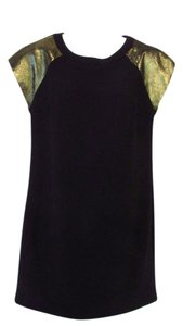 Trina Turk Sheath Cap Sleeve Lamb Leather Dress