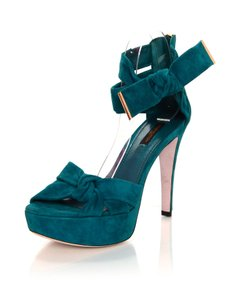 Louis Vuitton Suede Pumps Bow teal Sandals