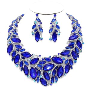 Other Blue Sapphire Rhinestone Crystal Teardrops Necklace and Earrings