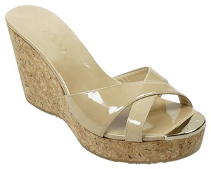 Jimmy Choo 39.5 Patent Leather Nude Wedges