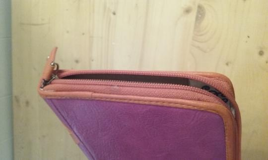 Jessica Simpson Vinyl/Leahter Silver Studded pink and orange Clutch