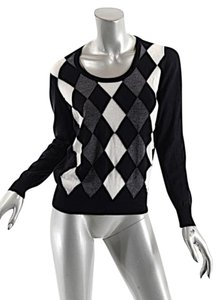 Prada Argyle Jewel Neck Sweater