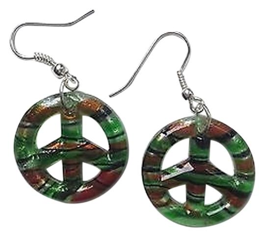 Other Green Multi-Colored Peace Sign Lampwork Murano Glass Pendant Dangle Earring