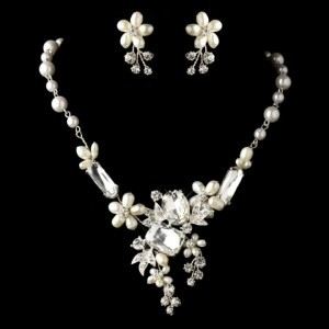 Elegance By Carbonneau Freshwater Pearl And Multi Shape Rhinestone Wedding Jewelry