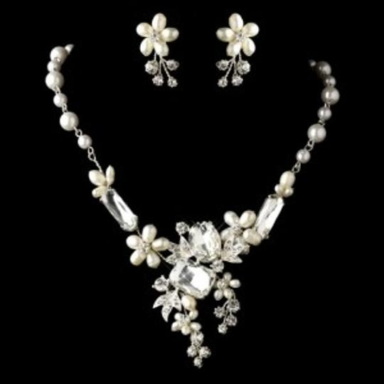Elegance by Carbonneau Silver Freshwater Pearl and Multi Shape Rhinestone Jewelry Set
