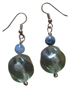 handmade NEW Handmade Lucite Swirl w Moss Agate EARRINGS Vintage & Gemstone Gem Stone Beads Dangle NWOT Buy3Get1FREE Sale!