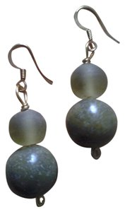 Other NEW Handmade Olive Green Genuine SERPENTINE w Frosted Lucite EARRINGS NWOT