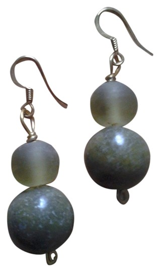 Other NEW Handmade Olive Green Genuine SERPENTINE w Frosted Lucite EARRINGS