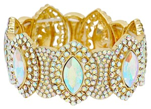 Other Abalone Crystal Rhinestone Teardrops Stretchable Cuff Bracelet