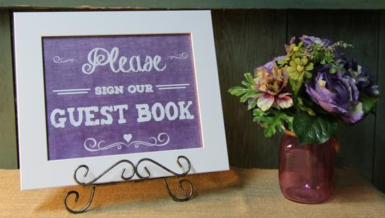 Rustic Country Purple Burlap-look Set Of 4 Signs For Your Wedding