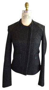 Maje Leather Black Tweed Jacket