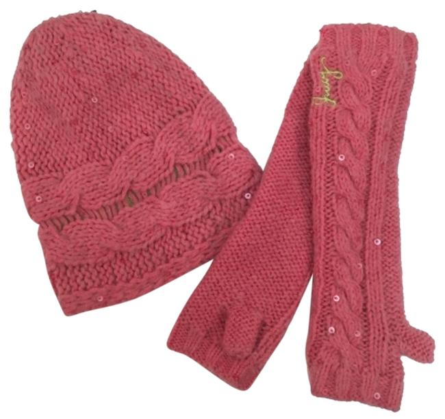Item - Pink Knitting Gloves Knit New Set Hat