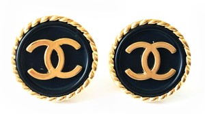Chanel Chanel Gold and Black CC Classic Clip on Earrings