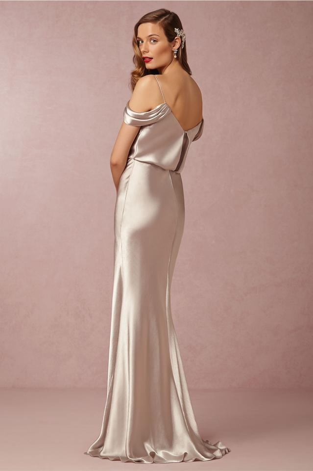 623a1da4482 Jenny Yoo Latte  sabine  Draped Pleat Neck Charmeuse Gown Long ...