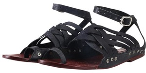 Free People Leather Boho Festival Black Sandals