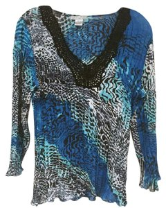 Alberto Makali Top Blue, Black, White, Gray