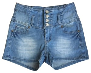 Wax Jean LA High Waist Hippie Retro Mini/Short Shorts Light Denim