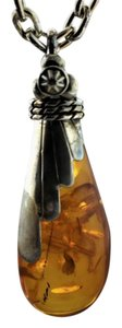Antique Long Chained Amber Necklace- Sterling Silver