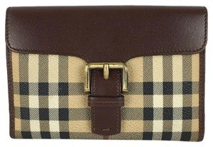 Burberry Burberry Medium Knight Check Wallet Brown Leather