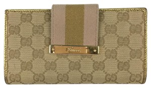 Gucci Gucci Light Tan Signature Canvas Bronze Gold Leather Clutch Wallet With Metallic Stripes