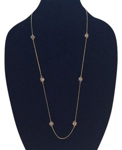 Kate Spade Nwt Kate Spade Gold Tone Crystal Cluster Stones Station Necklace 32