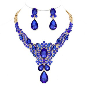 Other Blue Rhinestone And Crystal Teardrops Necklace and Earrings