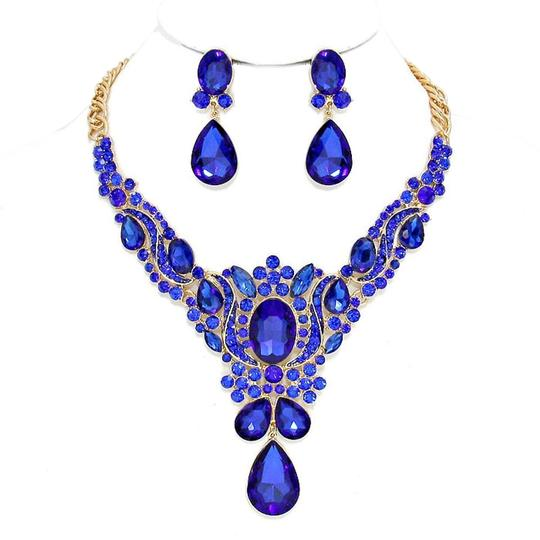 Preload https://img-static.tradesy.com/item/20200893/gold-sapphire-blue-rhinestone-and-crystal-teardrops-and-earrings-necklace-0-1-540-540.jpg