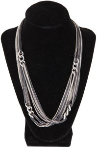 David Yurman Silver & Dark Matte Long Multi Strand & Large Link Accent Necklace