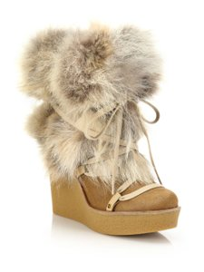 Chloé Fur Tan Wedges