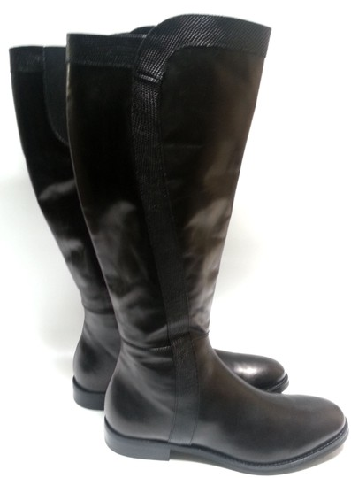 Attilio Giusti Leombruni Leather Knee High Agl Rubber Sole Made In Italy Black Boots