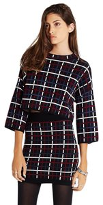 BCBGeneration Stretchy Plaid Cropped 3/4 Sleeves Knitwear Sweater